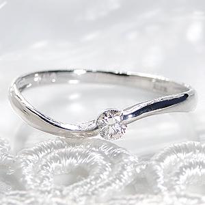 pt900【0.1ct】一粒 ダイヤモンド リング【無色透明】【H-SIクラス】【送料無料】【代引手数料無料】【品質保証書】【刻印無料】プラチナ 一粒ダイヤモンド シンプル 可愛い ウエーブ 人気 0.1カラット プレゼント 指輪 爪なし diamond ring