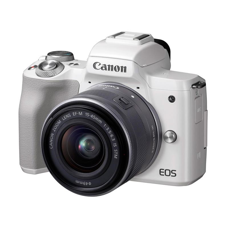 【4月12日20:00-16日1:59 カード決済でポイント9倍!】Canon キヤノン ミラーレス一眼カメラ EOS Kiss M EF-M15-45 IS STM レンズキット ホワイト