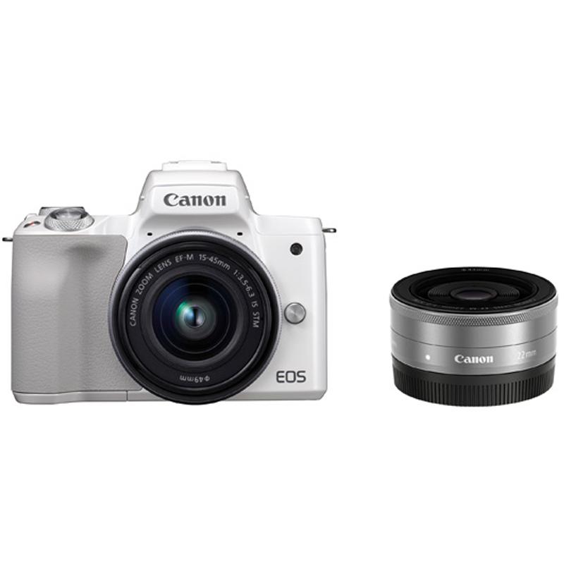 Canon キヤノン ミラーレス一眼カメラ EOS Kiss M ダブルレンズキット ホワイト 【キャッシュバックキャンペーン7,000円対象】