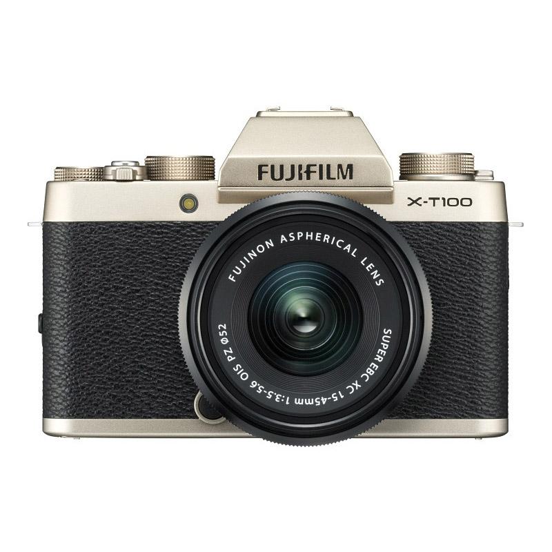 【4月12日20:00-16日1:59 カード決済でポイント9倍!】FUJIFILM フジフイルム ミラーレス一眼カメラ X-T100 レンズキット シャンパンゴールド