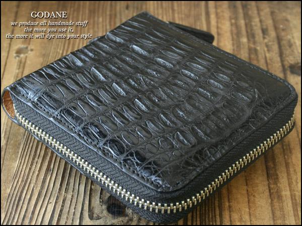 GODANE ゴダン 本革 クロコ クロコダイル ラウンドファスナー メンズ 二つ折り財布 ブラック サイフ さいふ MEN'S