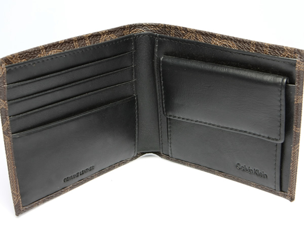 Calvin Klein 캘빈 클라인 지갑 남자 지갑 가죽 레더 로고 브랜드 브라운 금화 주머니 지갑 Men 's 지갑