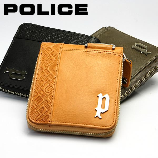 【送料無料】POLICE ポリス 財布 メンズ 牛革 ショートウォレット ヌメ革 ラウンドファスナー
