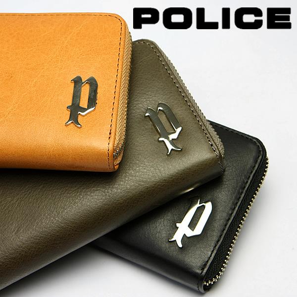 【送料無料】POLICE ポリス 財布 メンズ 牛革 ロングウォレット ヌメ革 ラウンドファスナー