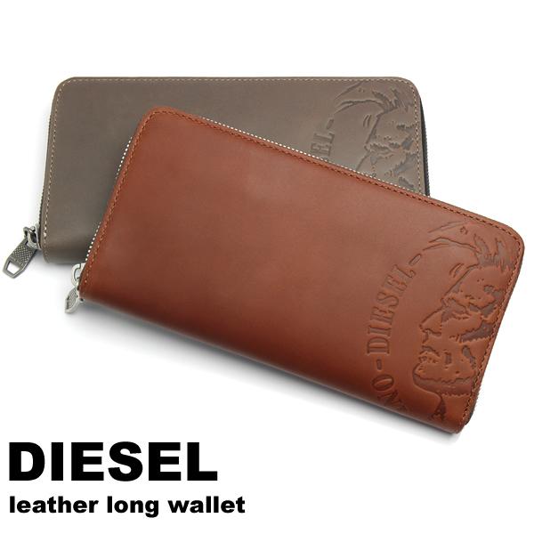 【感謝SALE】【送料無料】DIESEL ディーゼル 財布 長財布 小銭入れ付き ラウンドファスナー メンズ ブランド レザー 札入れ ブレイブマンロゴ HIGH PROFILEE 24 ZIP wallet X04762