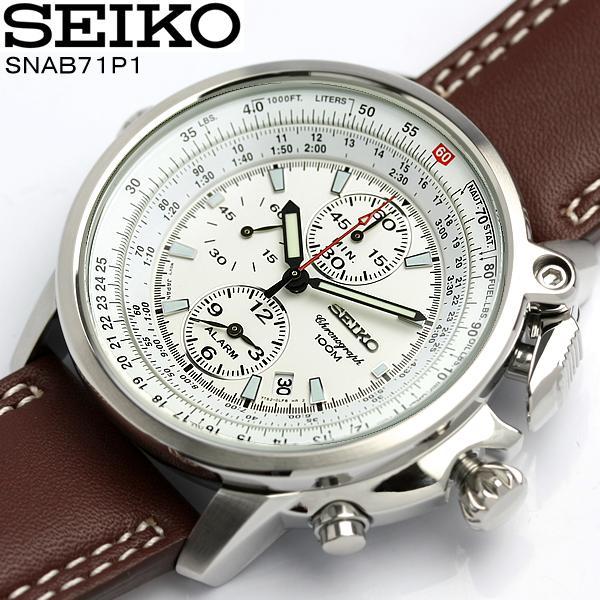 【送料無料】セイコー SEIKO 腕時計 メンズ パイロット クロノグラフ アラーム SNAB71P1 男性用 men's 革ベルト レザー うでどけい ウォッチ