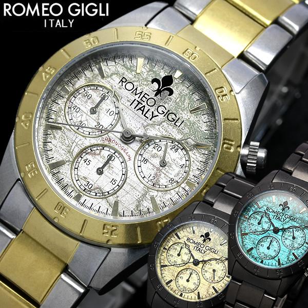 ROMEO GIGLI Romeo Mari watch men's chronograph antique stainless steel brand ranking watch うでどけい MEN's