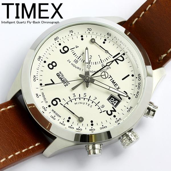 タイメックス TIMEX 腕時計 メンズ クロノグラフ インテリジェント レーシング フライバック T2N932 ミリタリー ブラウン×ホワイト 革ベルト レザー うでどけい MEN'S ウォッチ