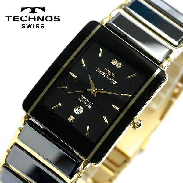 TECHNOS technos mens ceramic Sapphire Black Watch TAM530GB