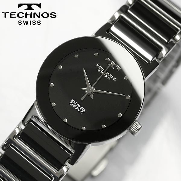cameron  TECHNOS technos ceramic Sapphire black ladies watch ... 124b612507
