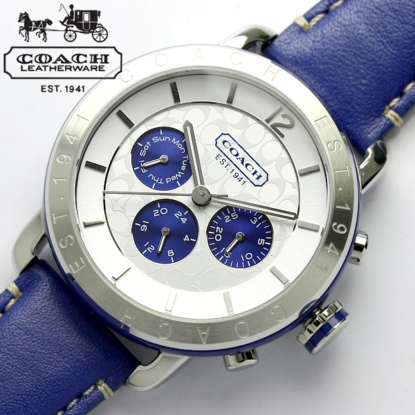 37c4fa2bd4348 Coach COACH watch レディースレガシー sport blue leather belt 14501652