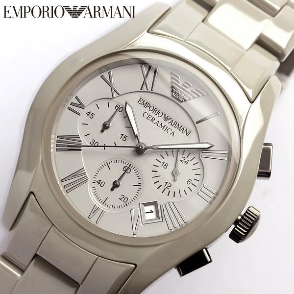 【送料無料】EMPORIO ARMANI エンポリオアルマーニ クロノグラフ CERAMICA セラミカ 腕時計 メンズ AR1459