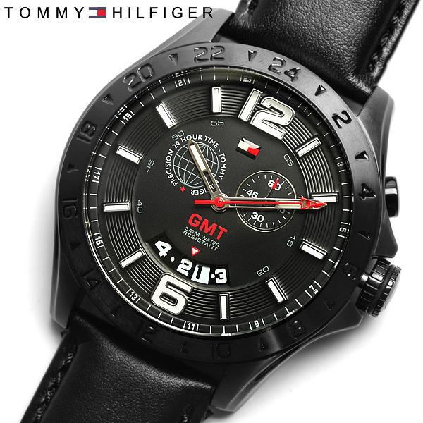 【送料無料】【TOMMY HILFIGER】【トミーヒルフィガー】腕時計 メンズ トミー 時計 tommy hilfiger MEN'S うでどけい ウォッチ 革ベルト レザー ブラック×ブラック 1790972