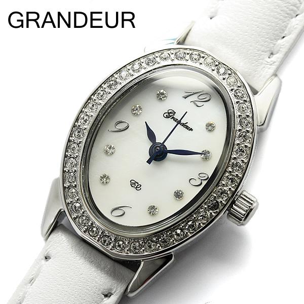 【グランドール】【GRANDEUR】腕時計 レディース シェル文字盤 スワロフスキー クリスタル レザーベルト シルバー 女性用 ウォッチ うでどけい Ladies ESL052W1