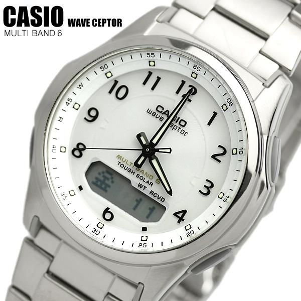 カシオ CASIO ソーラー電波時計 チタン製 ウェーブセプター ソーラー 電波 メンズ 腕時計 電波ソーラー WVA-M630TDE-7 MEN'S うでどけい 国内正規品 ホワイト