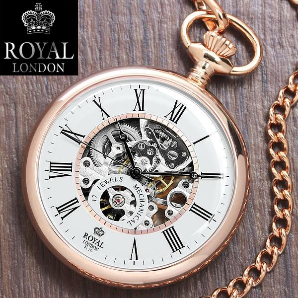 【送料無料】【ROYAL LONDON】【ロイヤルロンドン】 懐中時計 手巻き スケルトン ピンクゴールド メンズ 90049-03 MEN'S 男性用 うでどけい ウォッチ