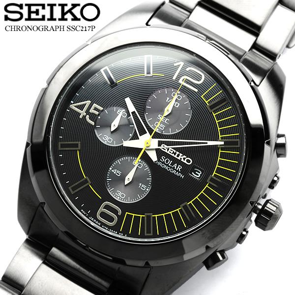 セイコー SEIKO 腕時計 メンズ クロノグラフ ソーラー クロノ 100m防水 ssc217p1  メンズ腕時計 ウォッチ うでどけい MEN'S ブラック×イエロー