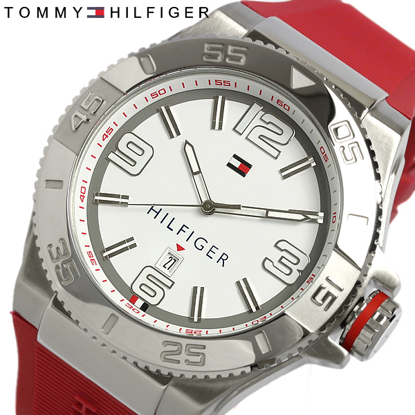 menu0027s tommy watch watches mens menu0027s tommy hilfiger udedokei rubber white x red brand