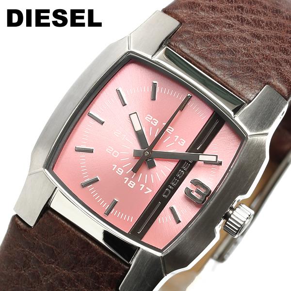 【送料無料】【ディーゼル】【DIESEL】 腕時計 レディース  DZ5335 ピンク×シルバー ブラウン ピンク ブランド腕時計 ladies うでどけい レザー 革バンド 女性用