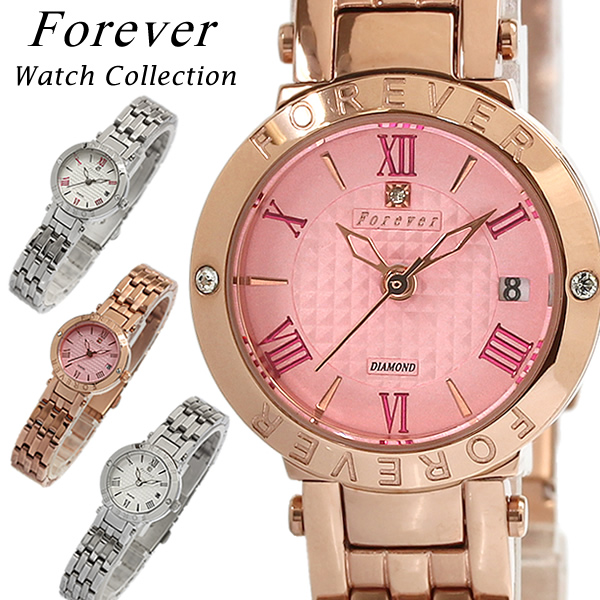 【Forever】 【フォーエバー】 レディース 腕時計 とけい ウォッチ 女性 天然ダイヤモンド ステンレス クリスタル FL-1203 Ladies ピンクゴールド シルバー 10気圧防水
