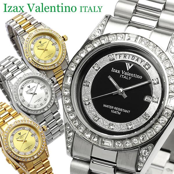 【2/15限定 エントリーでポイント12倍】 【Izac Valentino】【アイザックバレンチノ】 腕時計 メンズ ラインストーン 10気圧防水 カレンダー IVG-1000 Men's ブランド ウォッチ