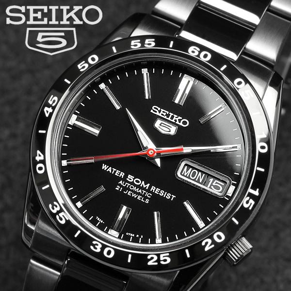 【SEIKO5】【セイコー5】逆輸入 メンズ 自動巻き 腕時計 フルブラック SNKE03K Men's ウォッチ うでどけい オートマティック 海外モデル 正規品