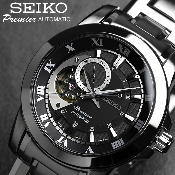 【SEIKO Premier】 セイコー プルミエ 腕時計 メンズ 自動巻き スケルトン オートマティック ブラック SSA215J1 Men's ウォッチ ブランド うでどけい