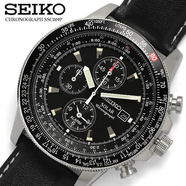 【送料無料】【セイコー】【SEIKO】 腕時計 メンズ クロノグラフ ソーラー腕時計 クロノ 100m防水 SSC009P3 メンズ腕時計 ウォッチ うでどけい MEN'S レザー 革バンド ブラック
