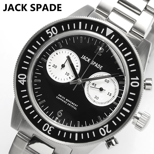 【JACK SPADE】【ジャックスペード】 腕時計 クロノグラフ メタル ブラック メンズ Kate Spade ケイト スペード 系列ブランドメンズライン WURU0087 ウォッチ 男性用 Men's
