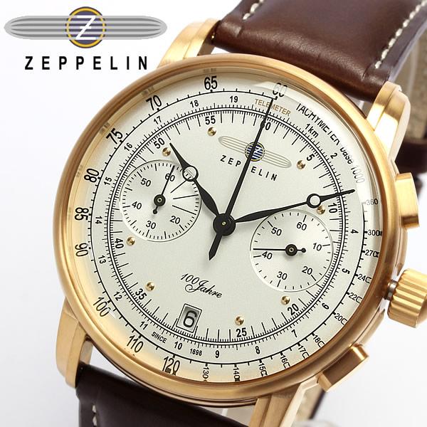 【送料無料】【ツェッペリン】【Zeppelin】 100周年 限定モデル クロノグラフ メンズ腕時計 7672-1 MEN'S 男性用 ウォッチ 本革レザー