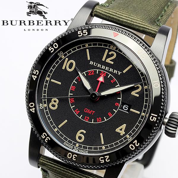 【送料無料】【BURBERRY】バーバリー 腕時計 メンズ GMT 100M防水 カーキ 本革レザー スイス製 Utillitarian ユティリタリアン BU7855 人気 ブランド ウォッチ うでどけい 男性用 Men's