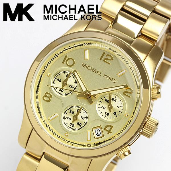 【送料無料】【MICHAEL KORS】 マイケルコース 腕時計 レディース クロノグラフ 10気圧防水 カレンダー イエローゴールド MK5055 女性用 ウォッチ Ladies