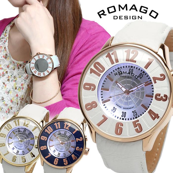 【限定モデル】【ROMAGO】ロマゴ デザイン 西内まりや着用モデル 腕時計 レディース メンズ ミラーウォッチ 雑誌掲載 本革レザー ホワイト RM007-0053ST