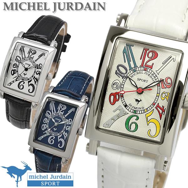 【michel jurdain】 ミッシェルジョルダン 天然ダイヤモンド スクエア 本革レザー 腕時計 レディース 女性用 SL-3000 うでどけい ウォッチ Lady's