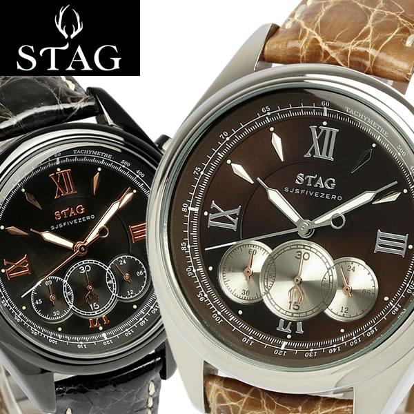 【送料無料】【STAG TYO】 スタッグ 腕時計 クロコダイル本革 ワニ革 クロノグラフ 日本製 10気圧防水 レザー メイドインジャパン メンズ STG004 うでどけい MEN'S ウォッチ