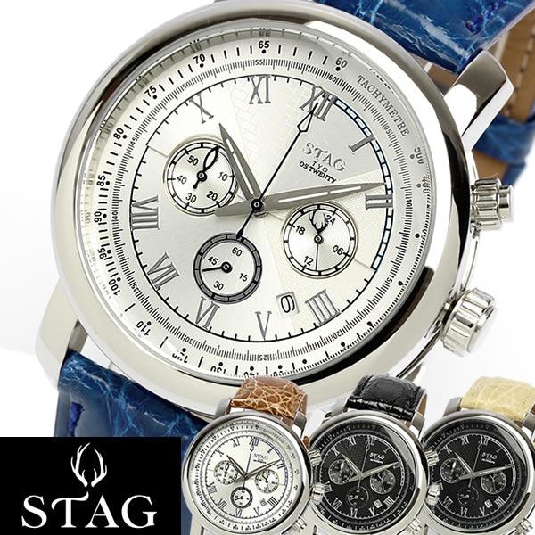 【送料無料】【STAG TYO】 スタッグ 腕時計 クロコダイル本革 ワニ革 クロノグラフ 日本製 カレンダー 10気圧防水 レザー メイドインジャパン メンズ STG010 うでどけい MEN'S ウォッチ