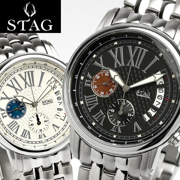 【送料無料】【STAG TYO】 スタッグ 腕時計 メンズ クロノグラフ 日本製 メタルベルト カレンダー 10気圧防水 メイドインジャパン STG011 うでどけい MEN'S ウォッチ
