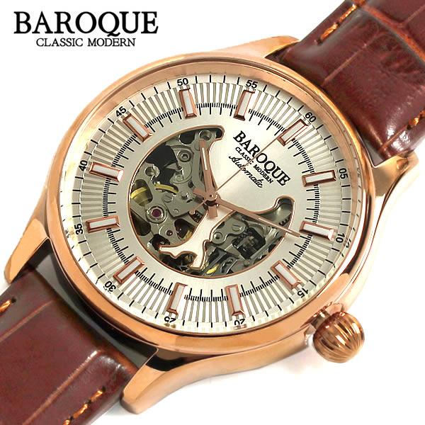 【スーパーSALE】【半額 50%OFF】【送料無料】BAROQUE バロック 腕時計 ウォッチ メンズ 自動巻き 日本製ムーヴ オートマティック スケルトン オープンハート レザー スケルトン ステンレス ba1004rg-04br 父の日 ギフト