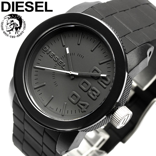 DIESEL ディーゼル 腕時計 ウォッチ うでどけい メンズ 男性用 5気圧防水 アナログ3針 ブラック ラバー dz4374 ギフト