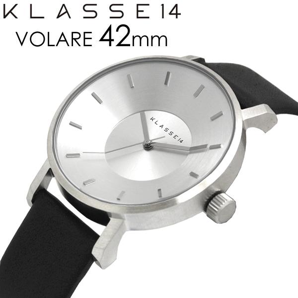 【2年保証】【100%本物保証】【送料無料】KLASSE14 クラス14 腕時計 メンズ 42mm 革ベルト レザー シルバー ブラック VOLARE クラスフォーティーン 人気 ブランド ウォッチ クラッセ クラセ