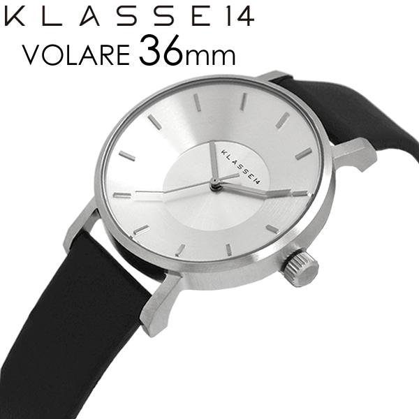 【スーパーSALE】【半額 50%OFF】【送料無料】KLASSE14 クラス14 腕時計 レディース 36mm 革ベルト レザー シルバー ブラック VOLARE クラスフォーティーン 人気 ブランド ウォッチ クラッセ クラセ
