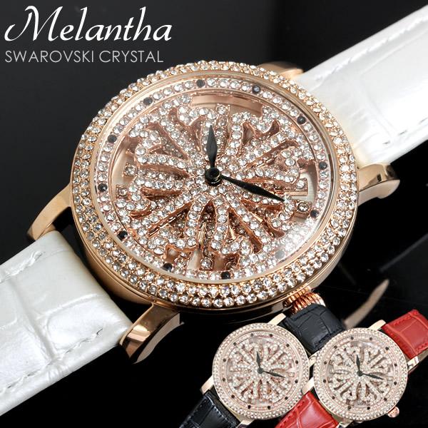 【感謝SALE】melantha 腕時計 レディース スワロフスキー クリスタル キラキラ 文字盤回転 クオーツ ステンレスケース 本革ベルト 高級 ウォッチ とけい 女性用 melantha001