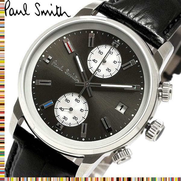 【送料無料】Paul Smith ポールスミス 腕時計 うでどけい ウォッチ メンズ 男性用 クオーツ クロノグラフ 日常生活防水 レザーベルト ブラック p10031