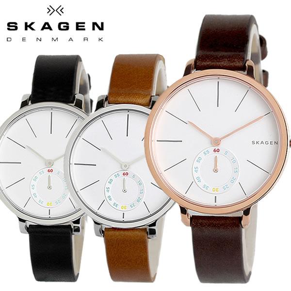 スカーゲン SKAGEN HAGEN ハーゲン レディース 腕時計 スモールセコンド クオーツ 5気圧防水 ステンレス レザーベルト ミネラルガラス SK002