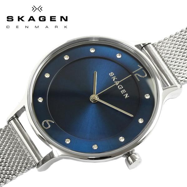 【スカーゲン SKAGEN】 腕時計 ANITA アニタ 腕時計 レディース ステンレス メッシュベルト ミネラルガラス 3気圧防水 クリスタル ラウンド ブルー シルバー SKW2307 ウォッチ