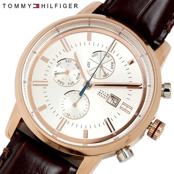 TOMMYHILFIGER トミーヒルフィガー クオーツ メンズ 腕時計 5気圧防水 24時間表示 日付曜日 マルチファンクション ステンレス レザーベルト カジュアル 1791246