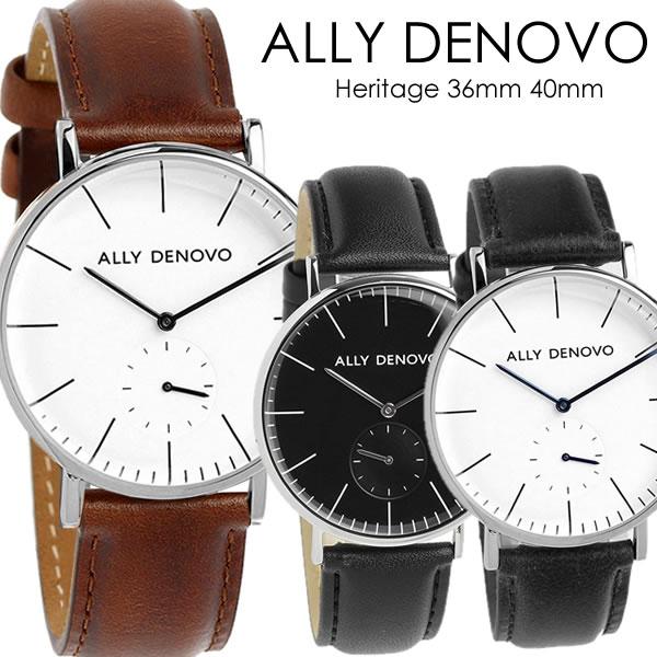 【3年保証】【100%本物保証】【送料無料】ALLY DENOVO アリーデノヴォ クオーツ 36mm 40mm メンズ レディース 腕時計 ウォッチ スモールセコンド 本革 ally-02
