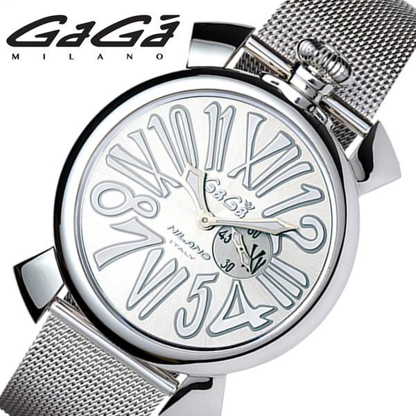 GAGA MILANO SLIM 46MM ガガミラノ 腕時計 メンズ クオーツ 日常生活防水 スモールセコンド ステンレス ミネラルガラス ねじ込みリューズ シルバー gaga-5080-3