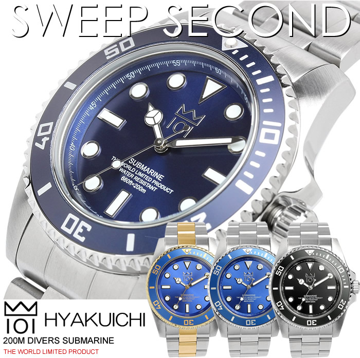 【スーパーSALE】【送料無料】HYAKUICHI 101 ヒャクイチ 腕時計 ウォッチ メンズ 男性用 クオーツ 200m防水 ダイバーズウォッチ スイープセコンド hyaku1-009 ギフト