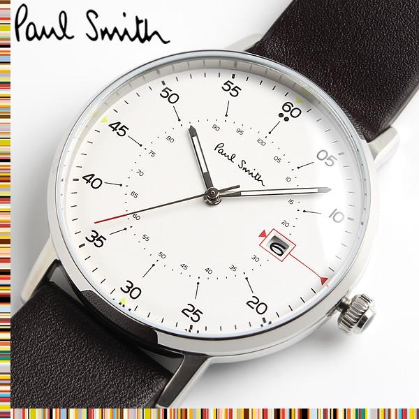 【送料無料】 ポールスミス PAUL SMITH ゲージ GAUGE クオーツ メンズ 腕時計 レザー ウォッチ クオーツ 3気圧防水 日付カレンダー ステンレス クラシック ファッション P10072 ホワイト